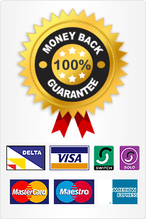 Money Back Guarantee - We Accept Paypal, Delta, Visa, Master, Maestro, Solo, Switch and American Express